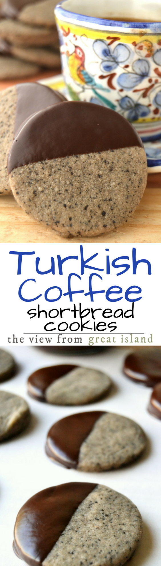 Turkish Coffee Shortbread Cookies are buttery and delicious with a striking flavor combination of strong coffee and warm cardamom ~ these are cookies to linger over! #turkishcoffee #shortbread #shortbreadcookierecipe #coffeecookies #dessert #cookies #baking #coffee #holidaycookies