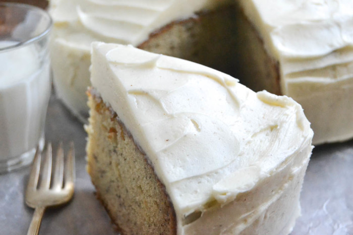 Banana snack cake with spiced vanilla frosting