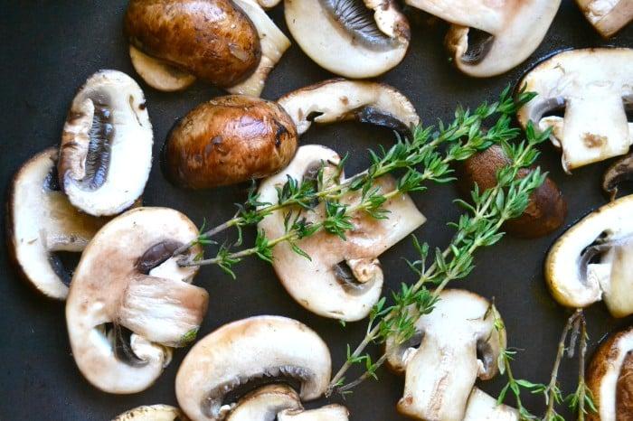 white mushroom and thyme lasagna