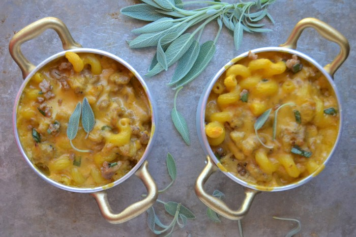 Spicy Sausage and Pumpkin Mac & Cheese