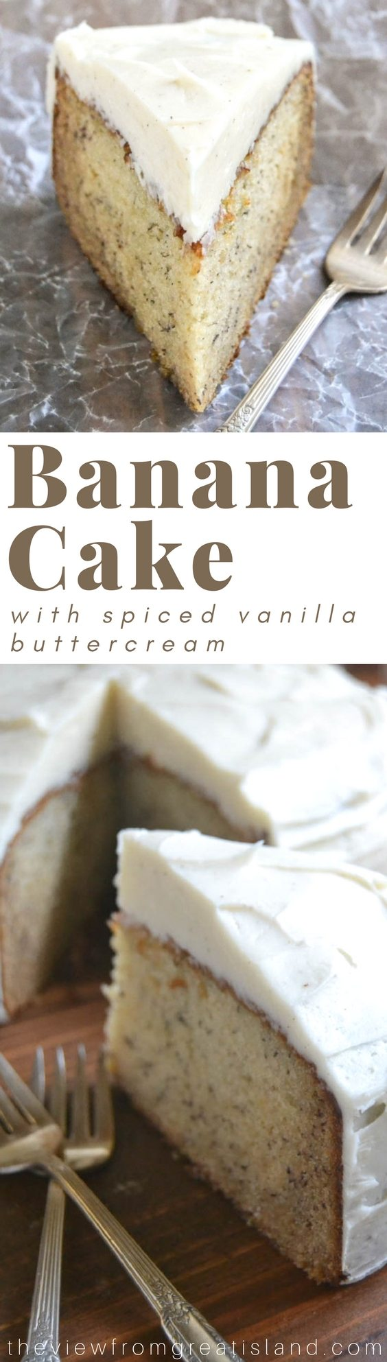 Banana Cake with Spiced Vanilla Buttercream pin