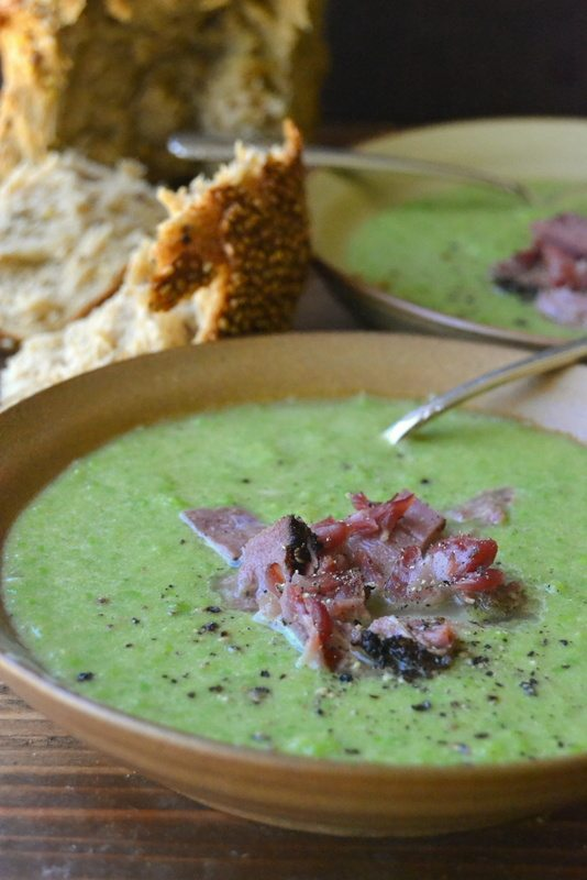 Ham and pea soup in bowls