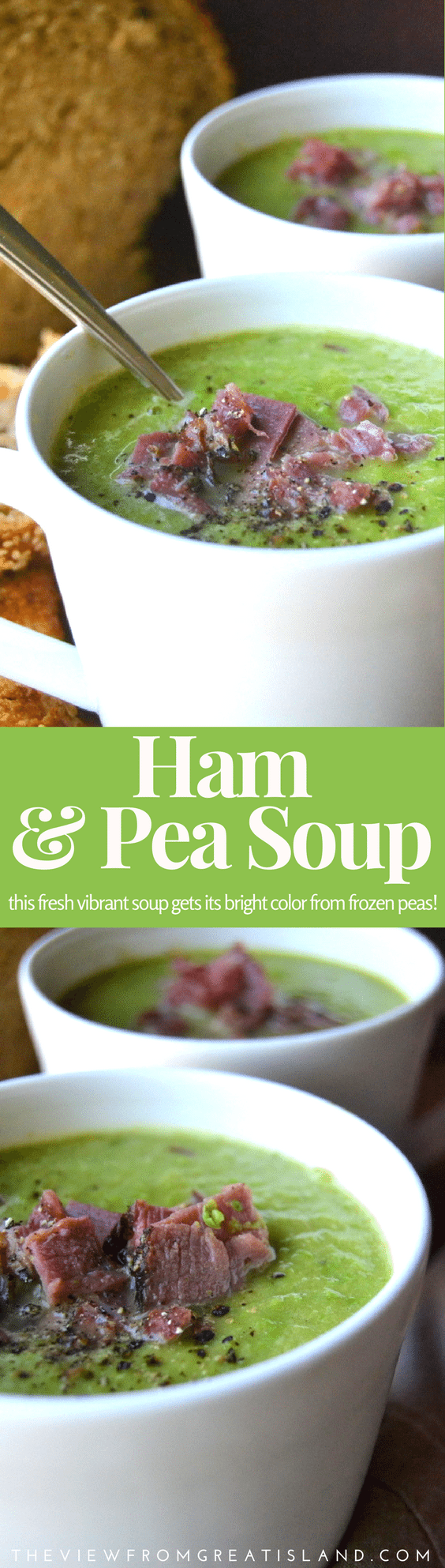 Hearty and vibrant Ham and Pea Soup made with fresh frozen peas will warm up the coldest night! #hamandpeasoup #peasoup #peas #ham #soup #heartysoups #souprecipe #glutenfreesoup #glutenfree #leftoverham