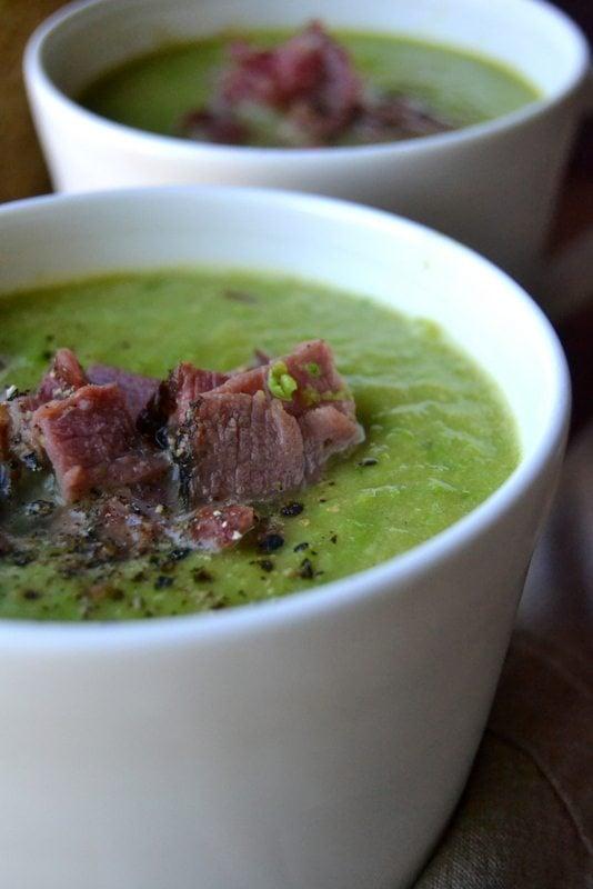 bright green ham and pea soup