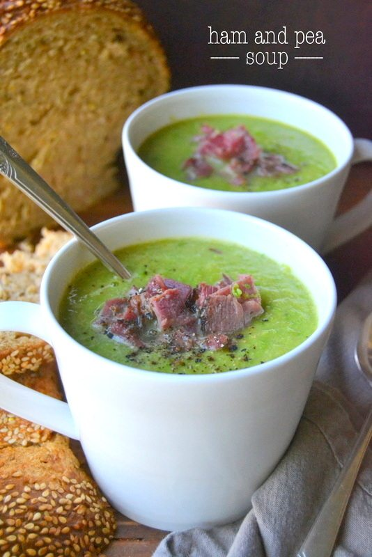 Ham and pea soup with crusty bread