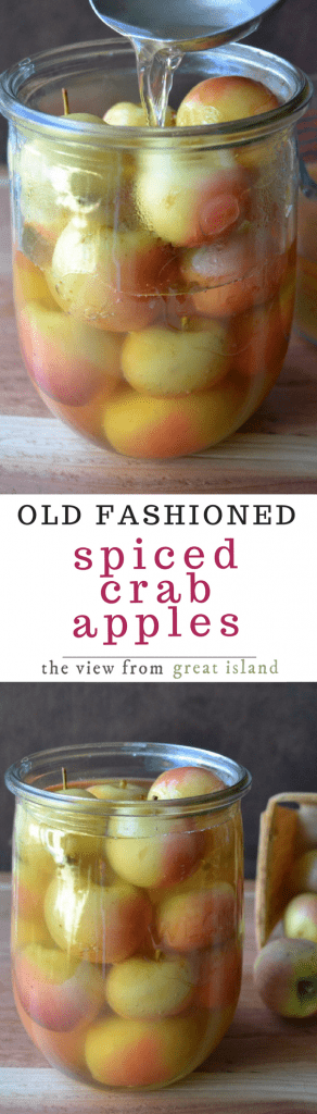 I love vintage recipes, they're a great way to shake things up in the kitchen because they come to you complete with a whole different set of food rules and values. This one for Old Fashioned Spiced Crab Apples goes back to the days when families would scrimp and scrounge to use or preserve every bit of food available to them, including the scrawny crab apples from the front yard tree. This is a lovely side dish for any fall or winter meal.