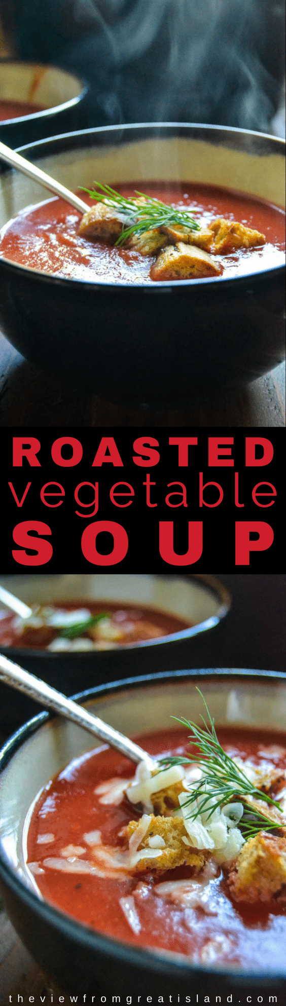 My healthy Roasted Winter Vegetable Soup is the most gorgeous shade of crimson you've ever seen! This comforting vegetable soup is full of vitamins and antioxidants to get you through the winter in tip top shape. #soup #healthy #comfortfood #beetsoup #vegetablesoup #roastedvegetables #wintersquashsoup #squashsoup