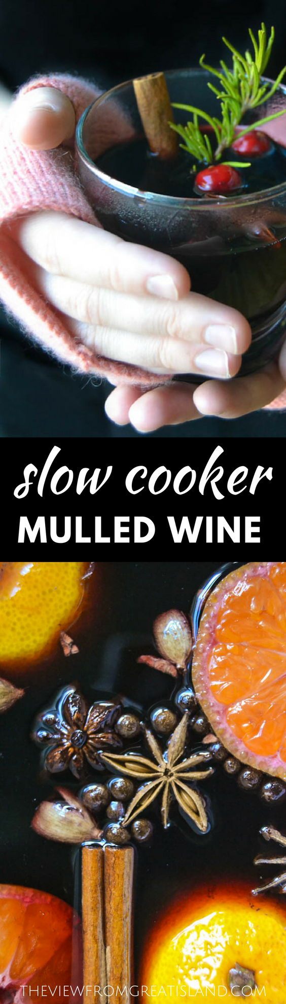 Slow Cooker Mulled Wine ~ this warming winter cocktail scents the whole house, and guests can help themselves!  Let's get this party started!  #wine #mulledwine #crockpot #slowcooker #holidays #Christmas #thanksgiving #holidaydrinks #hotdrinks #falldrinks #winterdrinks #mulledwinerecipe #bestmulledwine