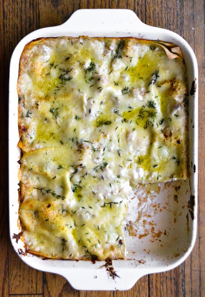 A pan of white mushroom lasagna