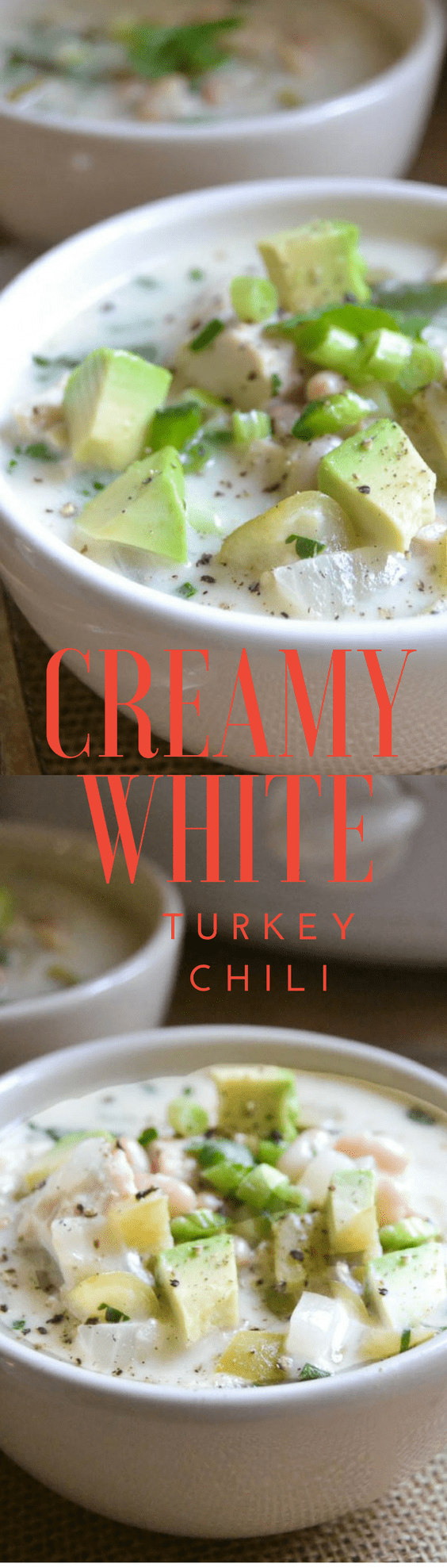 Creamy White (leftover) Turkey Chili is a luscious creamy white chili that gets raves every time ~ best of all, the slow cooker does all the work and you get all the glory! #whitechili #turkey #leftoverturkey #leftovers #thanksgivingleftovers #easywhitechili #turkeychili #soup #stew #fall