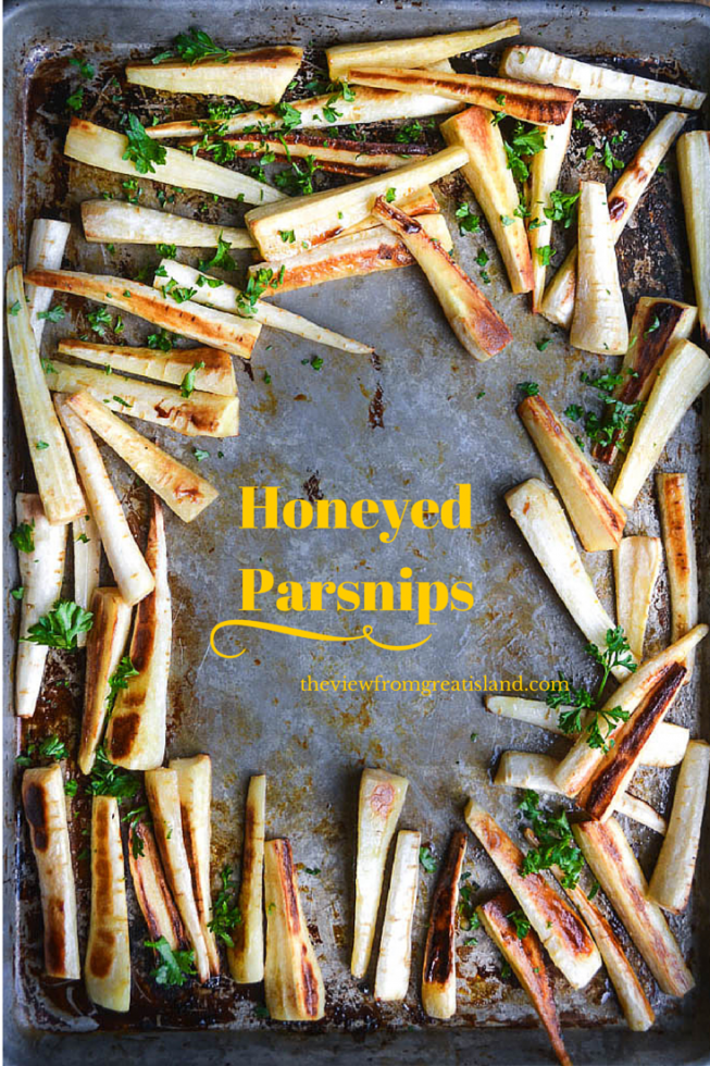 Honeyed Parsnips ~ If you need a last minute side dish that your dinner guests won't have had before, try these honeyed parsnips. #vegetable #sidedish #holiday #parship #rootvegetable #healthy #easy #recipe #roasted #sheetpan