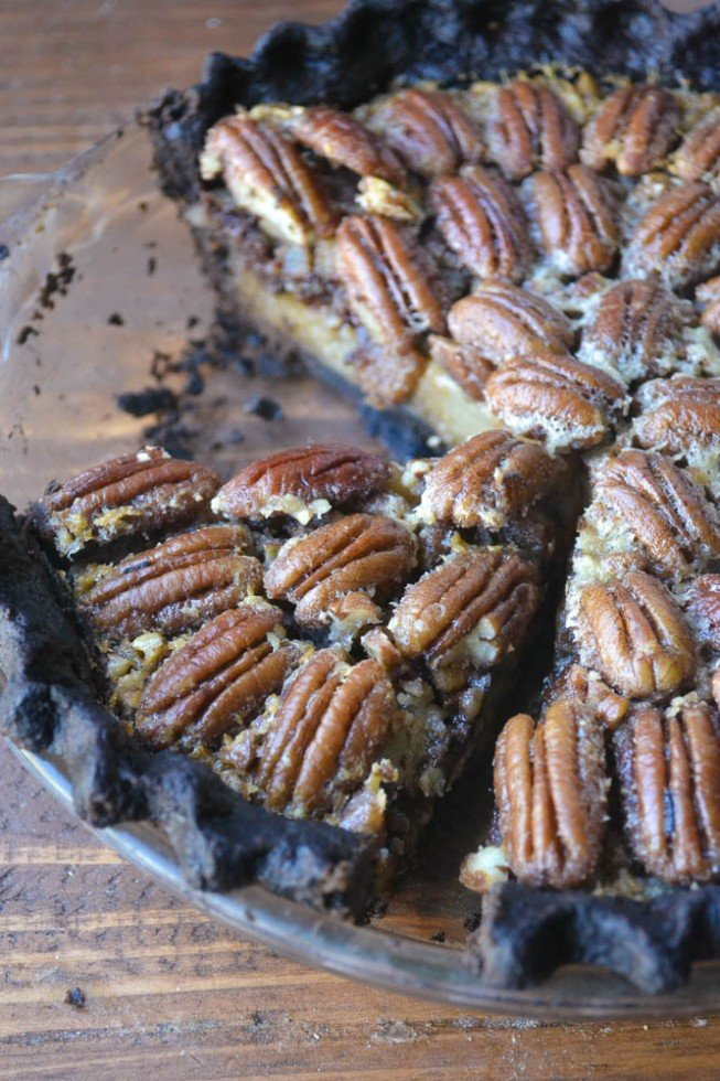 decadent black bottom pecan pie