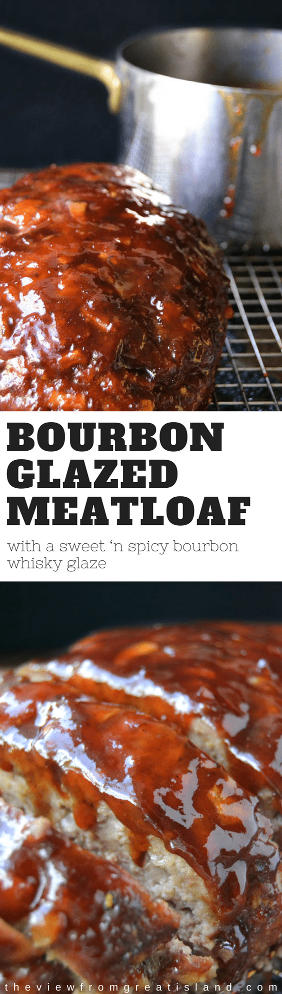Bourbon Glazed Meatloaf ~ a tender meatloaf drenched in a sweet 'n spicy bourbon whisky glaze ~ definitely not your mother's meatloaf! #bourbonmeatloaf #meatloaf #bourbonglaze #beef #meatloafrecipe #dinner #comfortfood #maincourse #bourbon #groundbeef