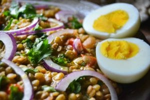 An easy to throw together light meal or appetizer with pita bread and boiled eggs