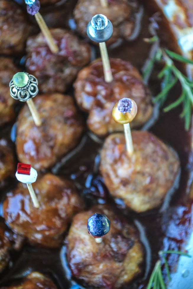 Sweet, spicy and spiked, cranberry bourbon cocktail meatballs