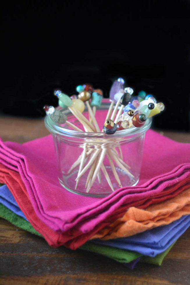 DIY beaded cocktail toothpicks