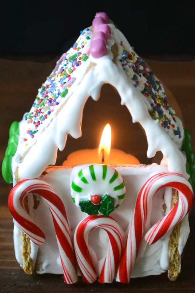 Graham Cracker Gingerbread House Votives (easy tutorial)