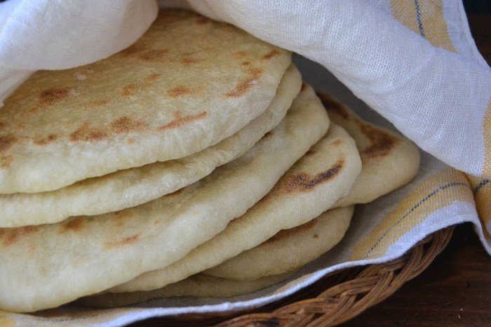 A stack of freshly made homemade pita bread