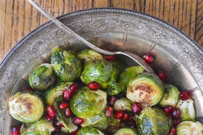Roasted Brussels Sprouts with Pomegranate, a healthy side dish