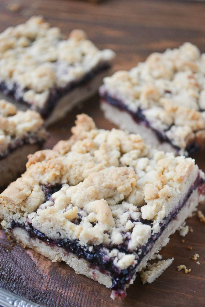 Peanut Butter and Boysenberry Jam Bars