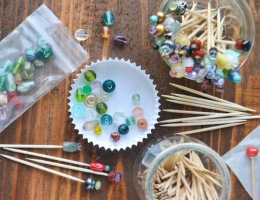 making beaded cocktail toothpicks