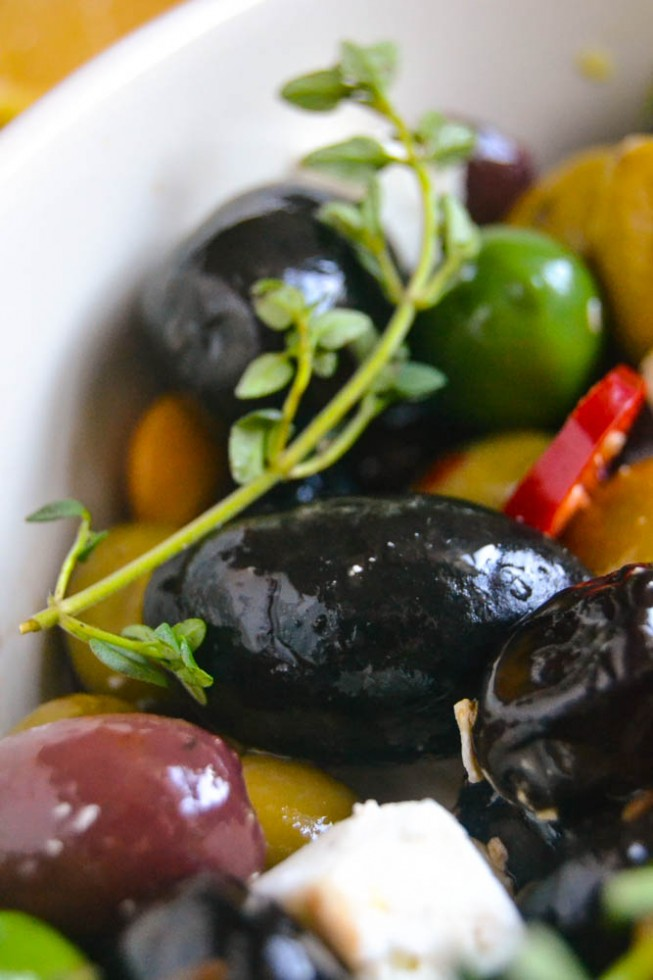 roasted olives and feta is perfect with wine