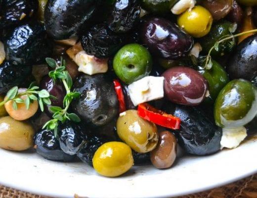 Roasted Olives with Feta and Jalapeno