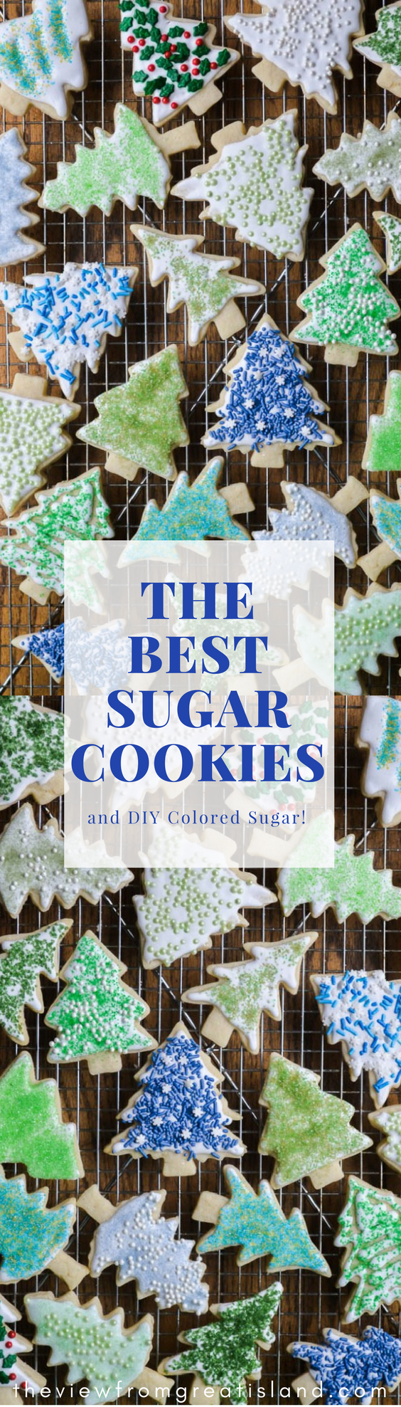 These quick and easy Holiday Sugar Cookies are such fun to decorate, and a joy to give out to friends and family this season. I show you how to make your own diy colored sugar, too, so you can get as creative as you want. #cookies #sugarcookies #bestsugarcookies #easysugarcookierecipe #cookierecipe #Christmascookierecipes #Christmascookies #frostedcookies #royalicing #cookiddecorating #sprinkles #coloredsugar #holidaycookies #cutoutcookies #dessert #foodgift
