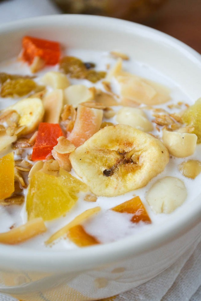 tropical granola with macadamia milk