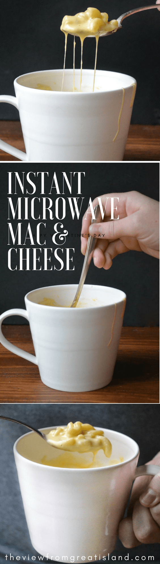 Instant Microwave Macaroni and Cheese in a Mug is a total game changer ~ this easy recipe makes a single serving ultra creamy mug of cheesy macaroni in just minutes! #dinner #cheese #pasta #macaroniandcheese #mac&cheese #microwavemacaroniandcheese #singleserving #microwave