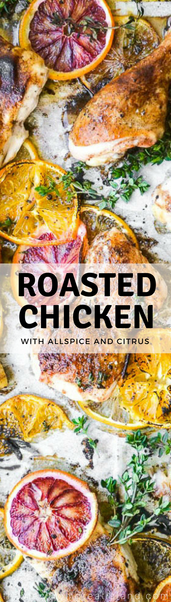 Roasted Chicken with Allspice and Citrus ~ this gorgeous sheet pan chicken meal is a fabulous way to celebrate fresh citrus! #chicken #bestchicken #dinner #easychicken #citrus #ottolenghi #roastedcitrus #bloodoranges #oranges #lemons #healthydinner #whole30 #glutenfree #paleo #lowcarb #maincourse #sheetpandinner