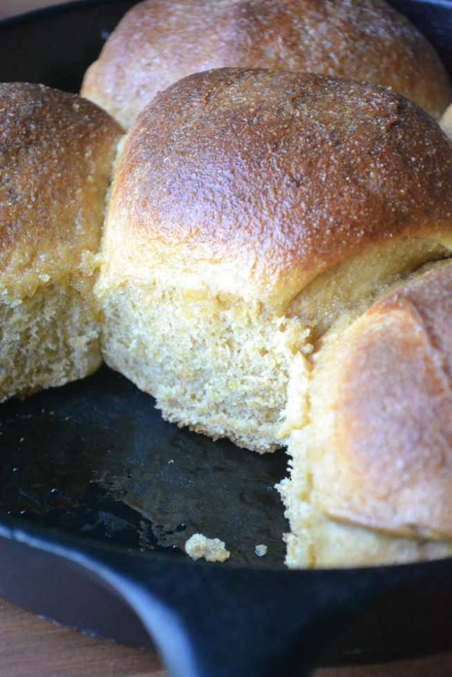 anadama rolls baked in a cast iron skillet