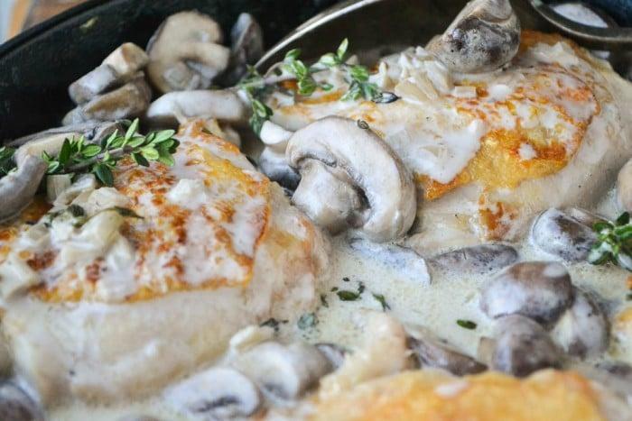 Crispy Chicken Thighs in a creamy Marsala mushroom sauce