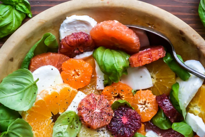citrus, mozarella and basil salad with honey vinaigrette