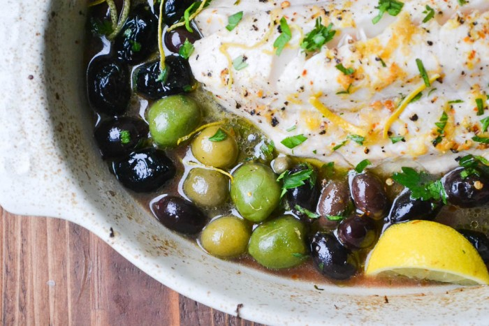 Baked Cod with Lemon and Olives