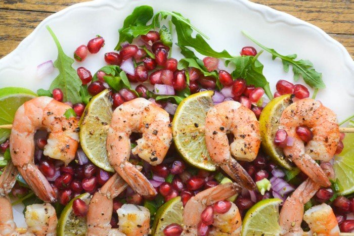 grilled shrimp with pomegranate salsa is so healthy, and practically zero calories :)