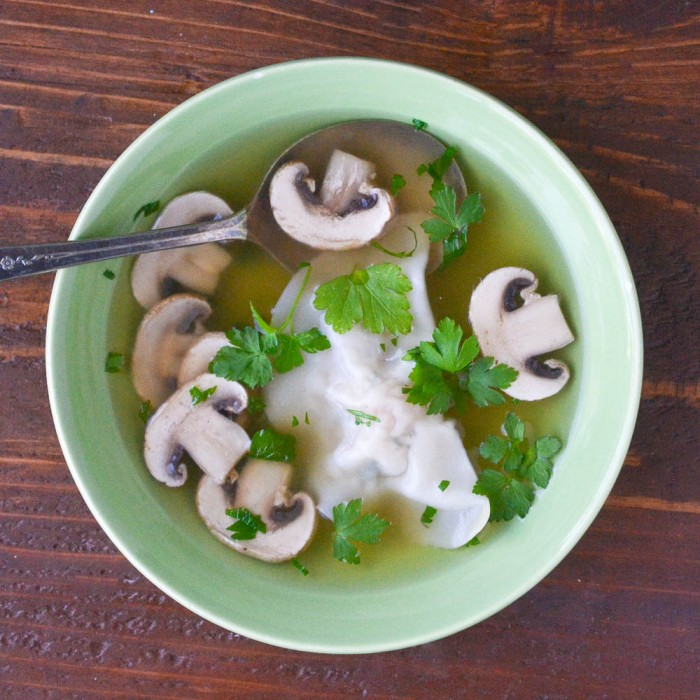 Miso Broth with Shrimp Dumplings