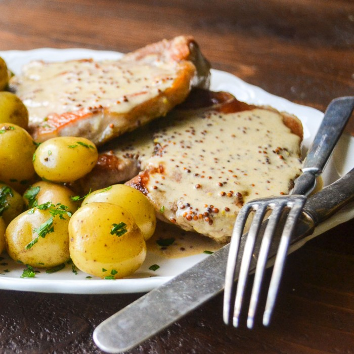 pork chops with mustard cream sauce