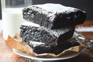 A stack of giant sized brownies
