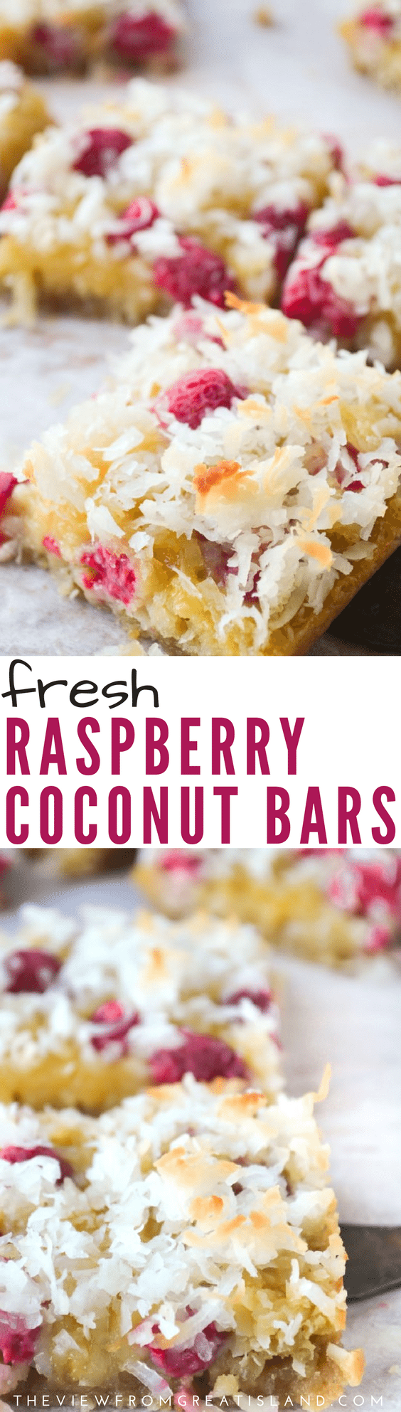 These Fresh Raspberry Coconut Bars are ooey, gooey, and delicious! Imagine your favorite coconut bar brightened up with juicy fresh raspberries ~ yum! #raspberrybars #coconutbars #coconut #raspberries #dessert #breakfast #snack #dessertbars