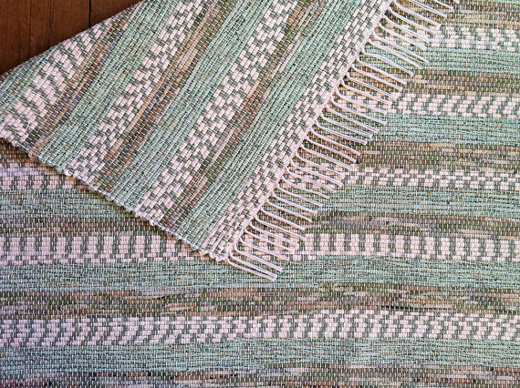 Vermont Rug Farm green stripe rag rug
