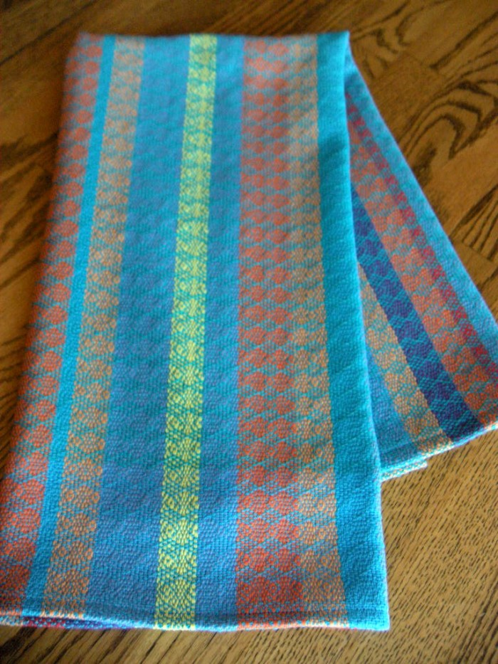 American Artisans hand woven dish towel, turquoise