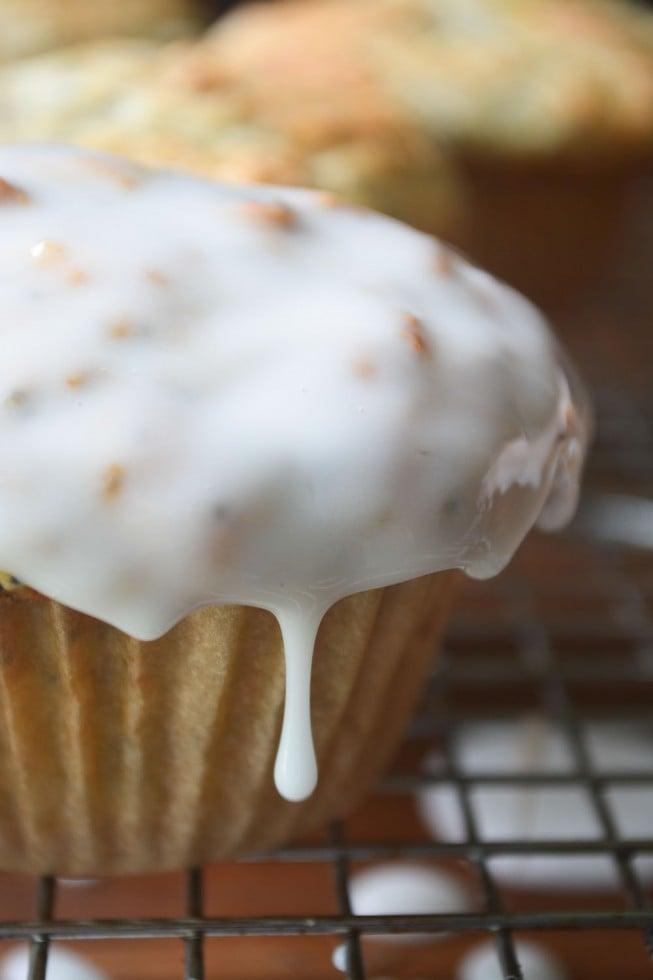 lemon poppy seed muffins with a tart lemon glaze