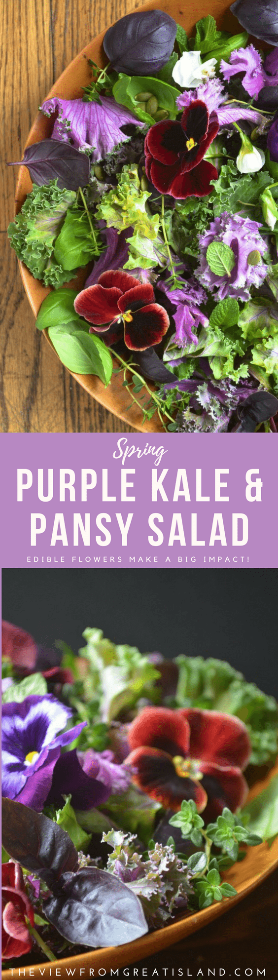 Purple Kale and Pansy Salad ~ edible flowers like colorful pansies can turn a salad from so-s0 to sensational. Use them as a garnish on all kinds of dishes this spring! #edilbleflowers #flowers #pansies #kalesalad #springsalad #easter #mothersday #healthy #kale #purplekale #rainbow
