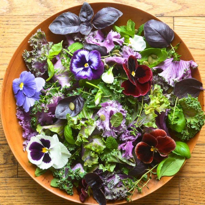 kale and herb salad with pansies