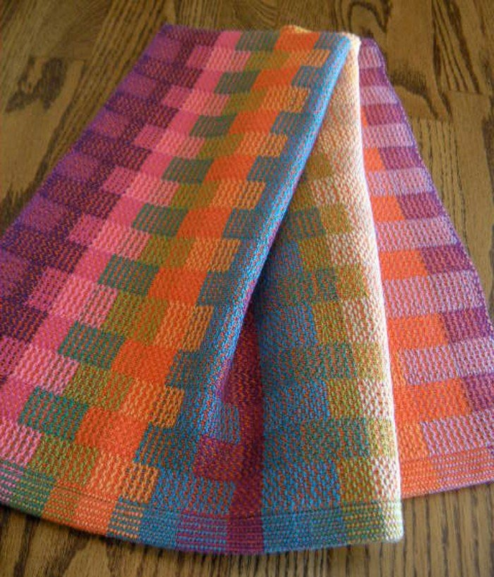 brightly colored handwoven dish towel