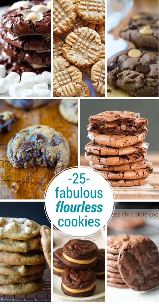 25 Fabulous Flourless Cookies ~ these are the best of the best gluten free cookies, so delicious you won't miss the flour one bit! #glutenfree #glutenfreecookies #dessert #chocolatechipcookies #chocolatecookies #peanutbuttercookies #oatmealcookies #glutenfreedessert