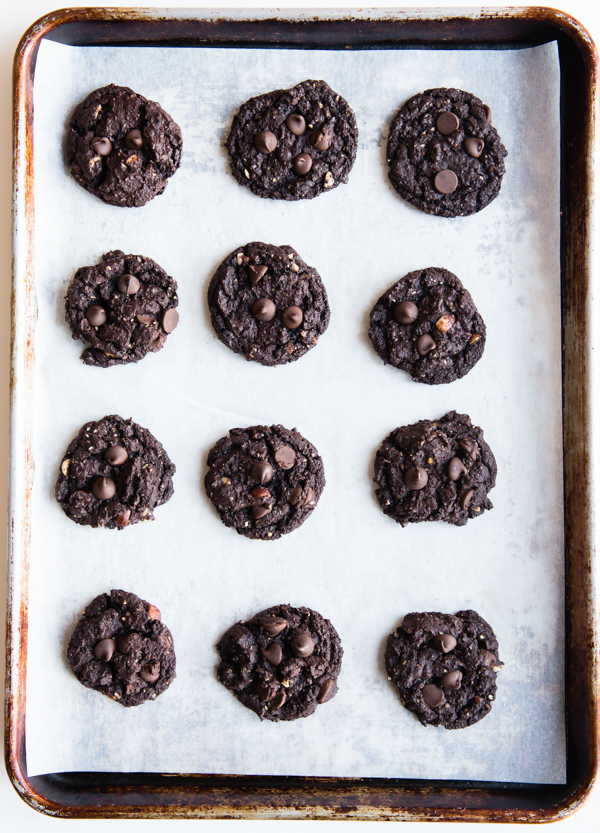 flourless hazelnut chocolate chip cookies