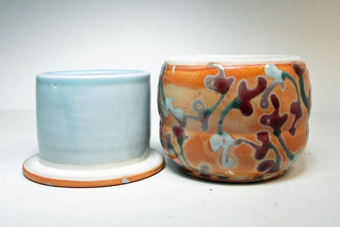 American Artisans Blacvk Forest Pottery Butter Dish