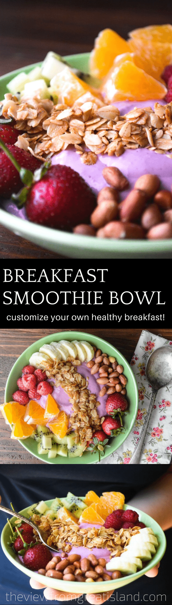 Breakfast smoothie bowls pin